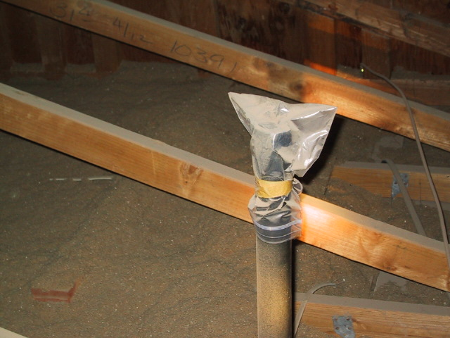 Plumbing vent capped in attic